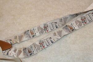TRAFALGAR Tennis Print Beige Silk Leather Trim Suspenders racquetball