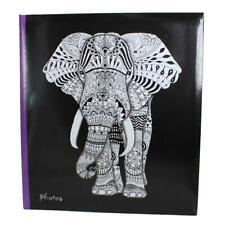 "Photo Album - Black - Holds 104 Photos 5""x7"" - Slip in Design - Tribal Elephant"