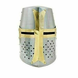 Medieval Knight Armor Crusader Templar Helmet Helm with Brass Cross Reenactment