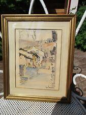 """jolie aquarelle signée Jean Sauvignier . 1956 """" intérieur de village """""""