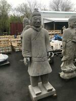 HAND CARVED STONE ASIAN TERRACOTTA ARMY WARRIOR  STATUE - AS45