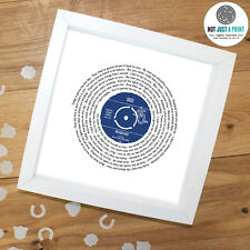 More details for oasis wonderwall - personalised lyrics record print valentines day gift idea uk