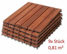 9 er SET AKAZIE HOLZFLIESEN BALKONFLIESEN BODENPLATTEN 9 Stück 30x30 cm / 0,81qm