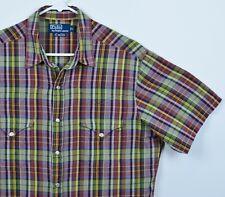 Polo Ralph Lauren Men's Sz Large RL Western Snap-Front Rockabilly Plaid Shirt