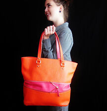 Kate Spade Grove Court Michelle PINK ORANGE Expandable Leather Large BAG Tote