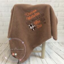Personalised baby blanket, fox design, any colour, name, embroidered, unisex