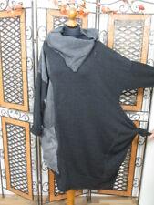 Barbara Speer flippiges Tunika Kleid im Materialmix in anthra old look NEU!!!