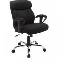 Black Mesh Fabric Big Tall Manager Chair Serta Office 300 Lbs Cap. Heavy Duty