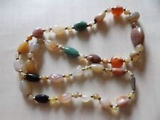 FAB VINTAGE FREEFORM NATURAL AGATE TUMBLED BEAD STONE NECKLACE 28 INCHES 472-3