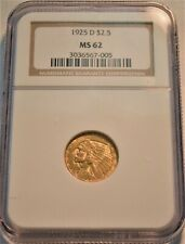 1925 D $2.50 NGC MS 62 Gold Indian Quarter Eagle, Uncirculated 2 and 1/2 Coin