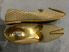 Indian Traditional Mojari Khussa Shoes / Pumps - Golden Size UK 8