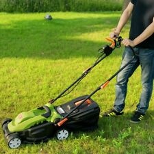 14in 12 Amp Lawnmower With Folding Handle Electric Push And 3 Adjustable Height