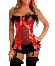 Red Sequin & Black Lace Boned Corset & Thong Set Bustier/Basque 8-10 Burlesque
