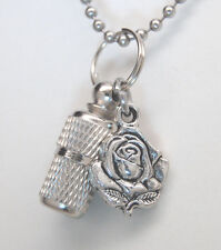 CREMATION JEWELRY ROSE URN NECKLACE MEMORIAL KEEPSAKE FLOWER URN MEMORIAL ASHES