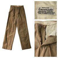 1930s Button Fly Work Pants / Ensenada Khaki Workwear Work Wear AS IS / 26x31