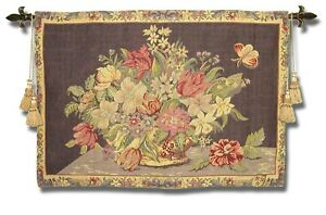 European Decor Wall Hanging Woven Tapestry Designer Art Floral French Italian