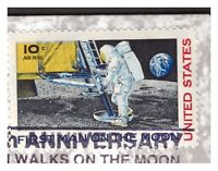 USA, #C76a flag omitted on 30th Moon landing cover (cert. Bolaffi)     -BQ40