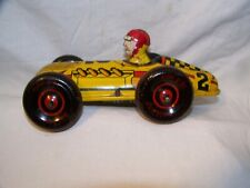 . Vintage #2- Lupor Windup Tin Litho Race Car with driver, played with, used