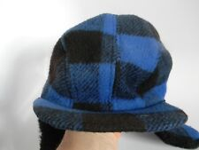 Vintage Blue Plaid Flap Ears wFaux Fur Hat Size XL Union Made in USA!