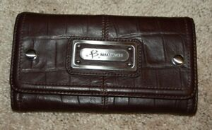 B. Makowsky Brown Leather Croc Embossed Nassau Flap Clutch Large Wallet NWT