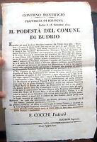 1815 BANDO BOLOGNESE CHIUSA DELLA RICCARDINA A BUDRIO DI BOLOGNA. ACQUE