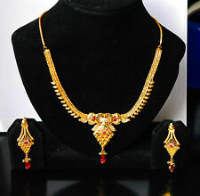 kapa 22ct GOLDPLATED NECKLACE SET WITH EARRINGS  ELEGHANT BOLLYWOOD STYLE HS1