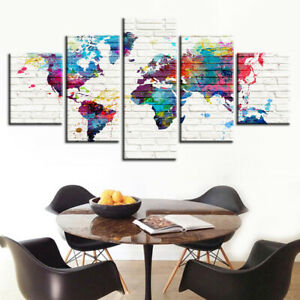 Abstract Watercolor World Map 5 Piece Canvas Wall Art Poster Print Home Decor
