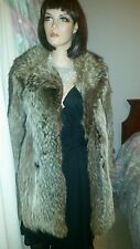 Vintage Genuine Canadian Silver Brown Raccoon Fox Fur Stroller Coat Jacket Sz6-8