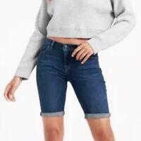 Lucky Brand Women's 0 Waist 25 Dark Wash Stretch Bermuda Mid Rise Jean Shorts