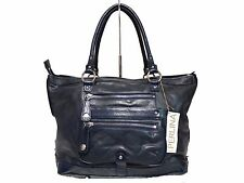 NWT Perlina Satchel Bag Tote Leather&Patent Leather Navy Blue