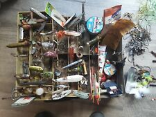 Collectible fishing lures etc. Many items. Vintage Fishing Box Contents. Zoom
