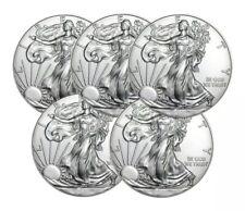 Lot of 5 - Random Year One Troy Oz .999 Fine Silver American Eagle Coins BU