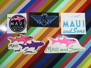 vtg 1980s Maui and Sons surf street sticker - Sharks and others