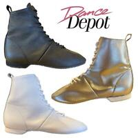 Dance Depot Womens Full Rubber Sole Jazz Boots Black or White or Silver