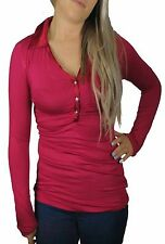 Classic Collar Patternless Fitted Tops & Shirts for Women