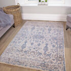 Blue Traditional Vintage Style Area Rug Distressed Faded Design Mat Oriental Rug