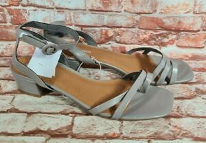 BNWT Ladies Sz 10 Anko Brand Strappy Taupe PU Casual Heels Ankle Strap Shoes