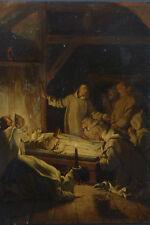 Beau tableau ancien attrib. Marius Granet  moines Chartreux veillée Funèbre 1820