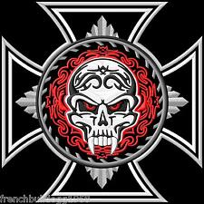 Iron Cross&Tribal Skull Patch Backpatch XL 25x25cm Old School Rockabilly Kutte
