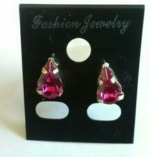 Pink Diamante Teardrop Silver Plated Stud Earrings