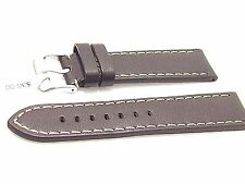 24MM WATCH BAND STRAP BUFFALO GENUINE LEATHER BROWN STITCHED FITS SWISS WATCHES