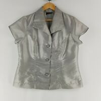 Kamiko Womens Size 14 Silver Shiny Short Sleeve Blouse Collared Feature Buttons