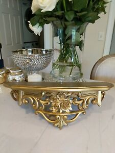 Vtg French Victorian style Gold Floral roses Wall Hanging Shelf Syroco style
