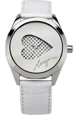 Morgan Designer White Leather Ladies Watch Heart Dial Valentines Gift M1092w