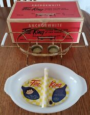 VINTAGE ANCHOR WHITE FIRE-KING-DIVIDED SERVING DISH w/ TWIN CANDLE WARMER w/ BOX