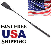 """Riding Whip Crop 19"""" Leather Flogger Toy Horse Black Handle Paddle Game Straight"""