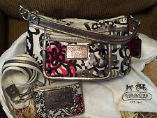 Coach Poppy Floral Graffiti Groovy Handbag Style# 14734 W/Matching Card Holder