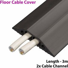3m x 83mm Heavy Duty Rubber Floor Cable Cover Protector - Twin Channel Conduit