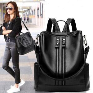 Women Leather Backpack Casual Waterproof Large Capacity Shoulder Crossbody Bags