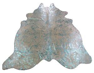 Turquoise Cowhide Rug Size: 7' X 7' Turquoise Metallic Acid Washed Rug